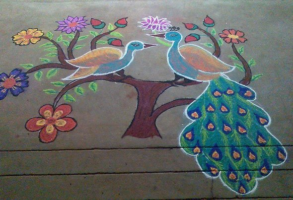 freehand rangoli with peacock