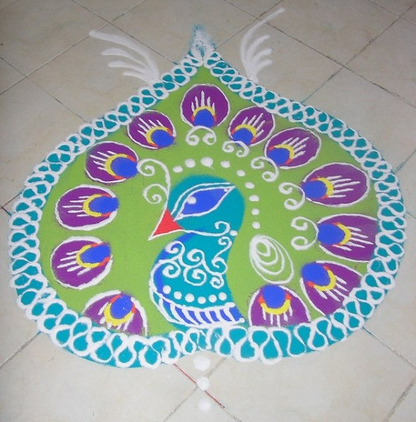 Pics Photos Peacock Feather Rangoli