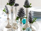 silver christmas table decorations
