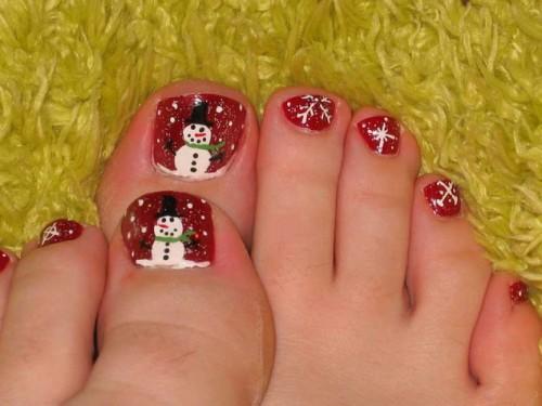 christmas toe nail designs